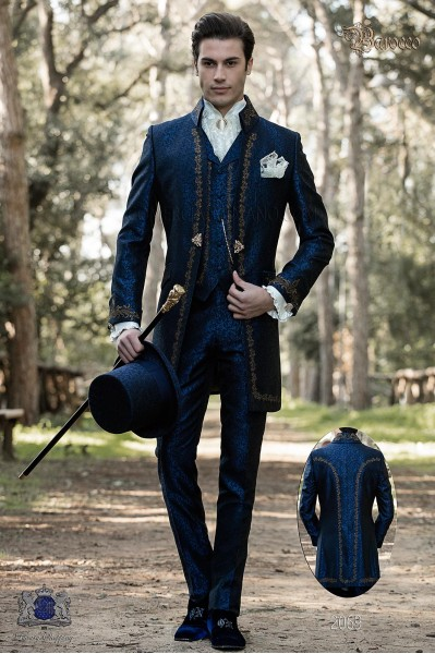 Baroque groom suit, vintage Napoleon collar frock coat in blue jacquard fabric with golden embroidery and crystal clasp