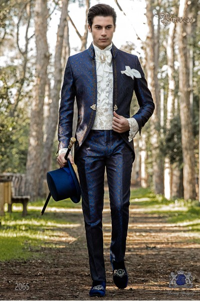 Baroque groom suit, vintage Napoleon collar frock coat in blue jacquard fabric with golden embroidery