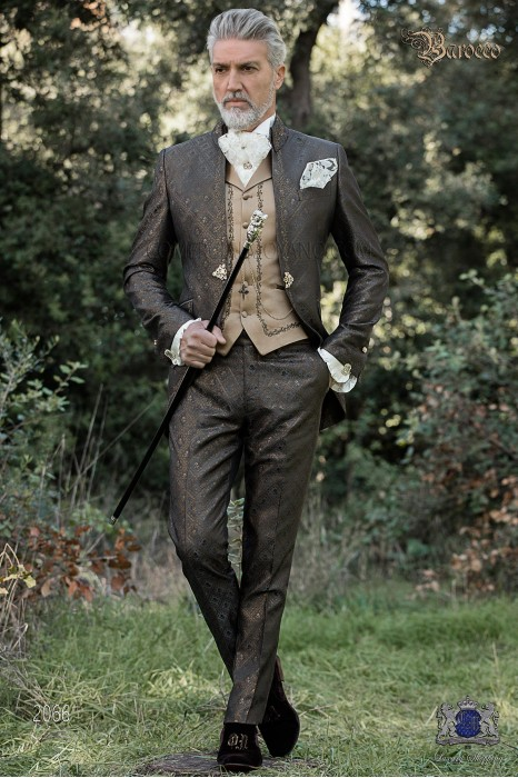 Baroque groom suit, vintage Napoleon collar frock coat in gray-gold jacquard fabric with golden embroidery