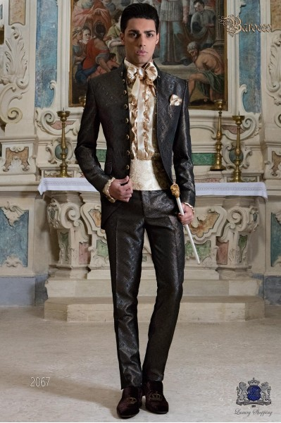 Mens Steampunk Vintage frock coat with Napoleon collar in gray-gold jacquard fabric with golden buttons