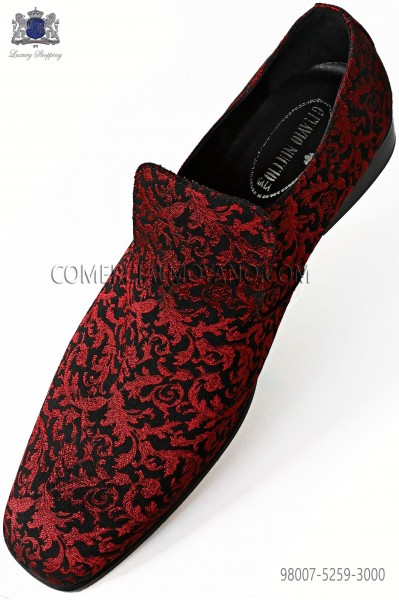 Red and black jacquard slipper shoes