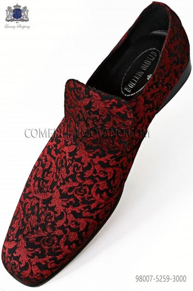 Zapatos slipper jacquard rojo y negro