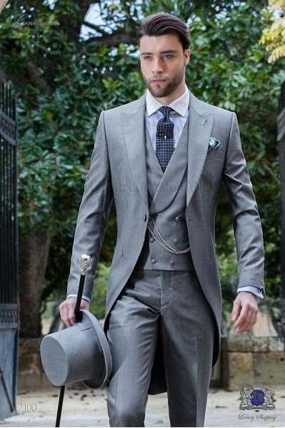 Hellgraue Cut Anzug aus Fil a Fil Wolle Seide