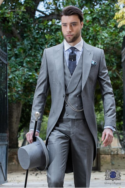 Italian bespoke morning suit wool silk light grey fil-a-fil