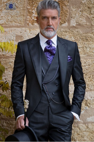 Italian bespoke morning suit wool mix dark grey fil-a-fil