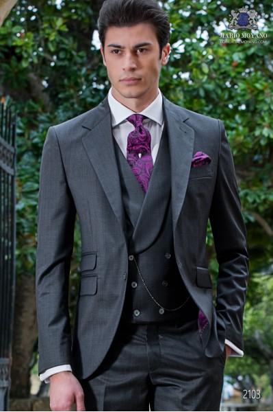 Italian bespoke suit anthracite grey fil a fil wool mix