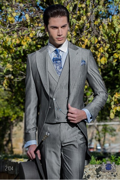 Bespoke pearl grey morning suit mohair wool mix alpaca