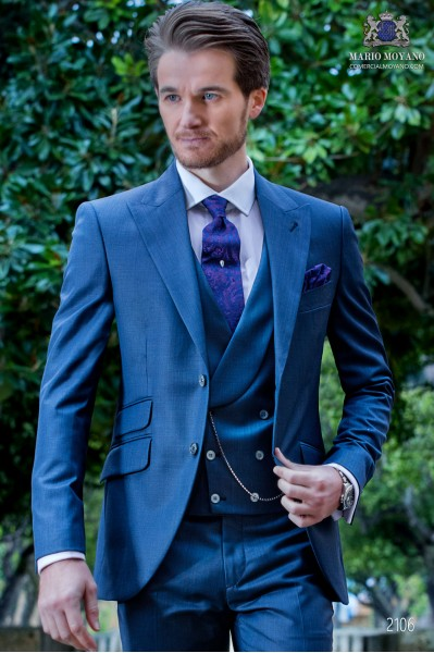 Italian bespoke suit blue fil a fil wool mix