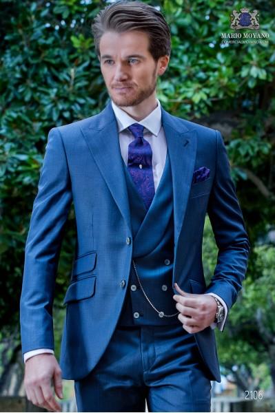 Traje italiano a medida azul fil a fil mixto lana