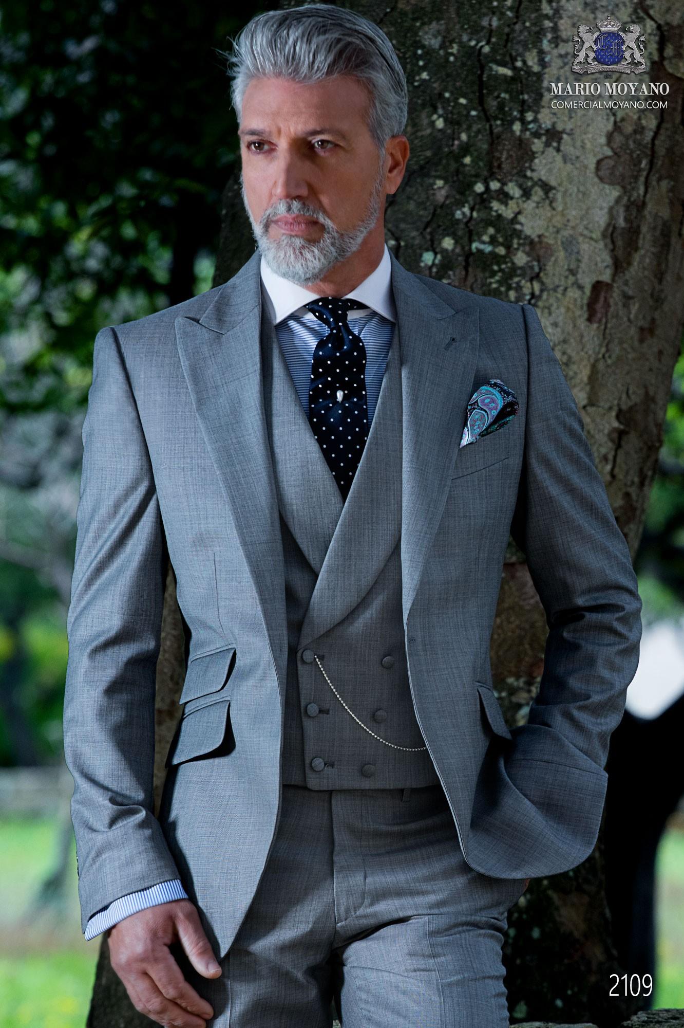 Italian bespoke light grey suit fil a fil wool mix