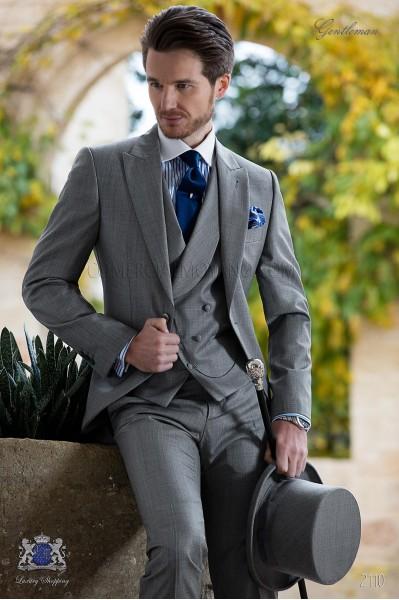Hellgraue Cut Hochzeitsanzug aus Fil a Fil Wollmischung Stoff