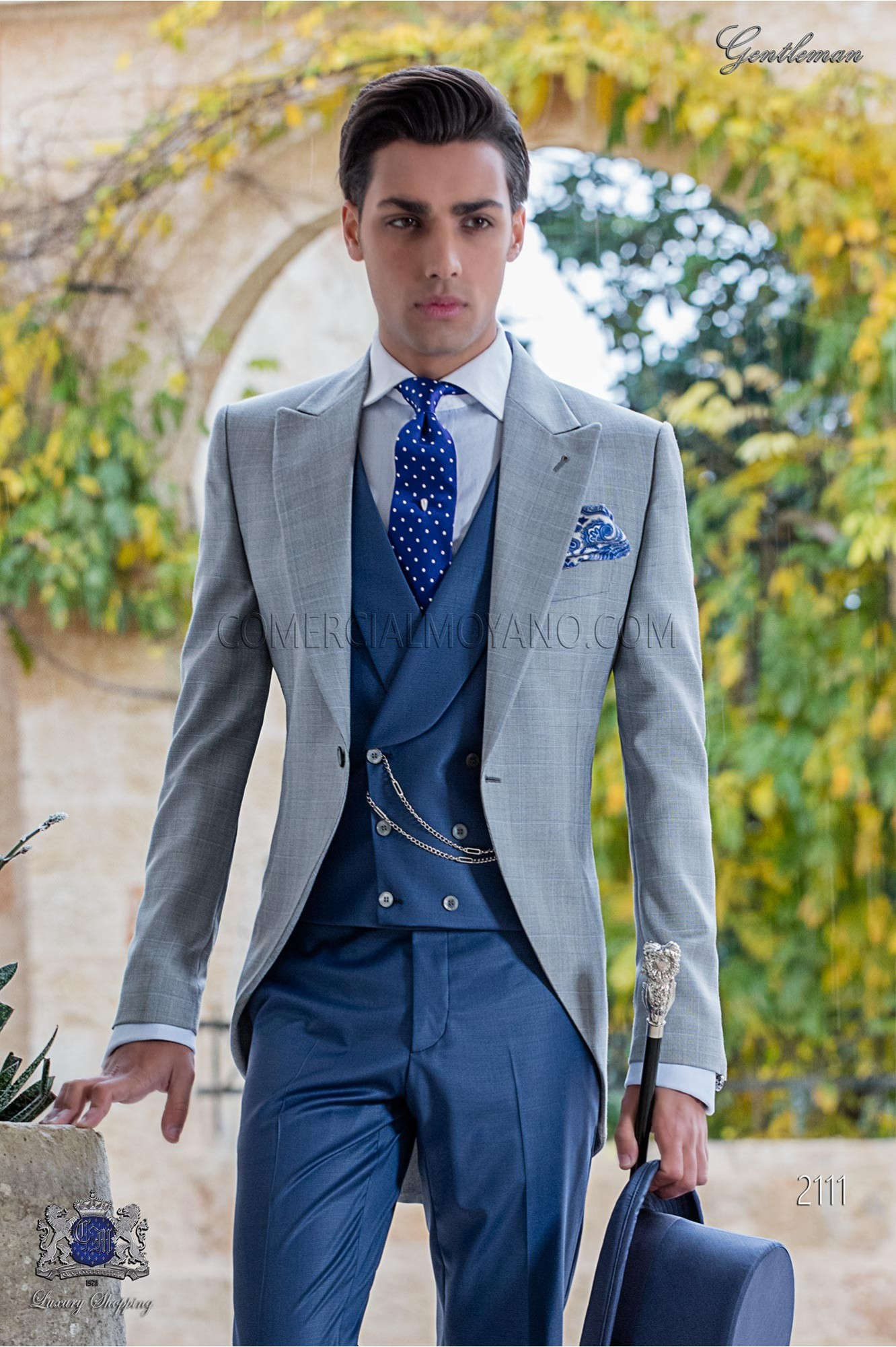Bespoke morning suit Prince of Wales light grey and blue