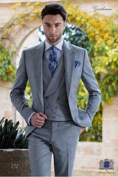 Traje de novio Príncipe de Gales gris claro y celeste
