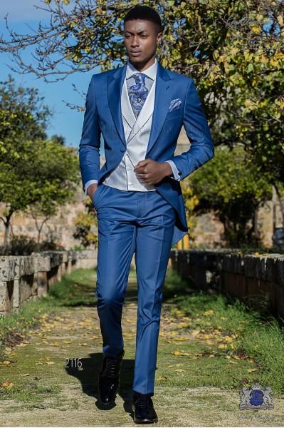 Electric blue groom short frock coat italian slim cut