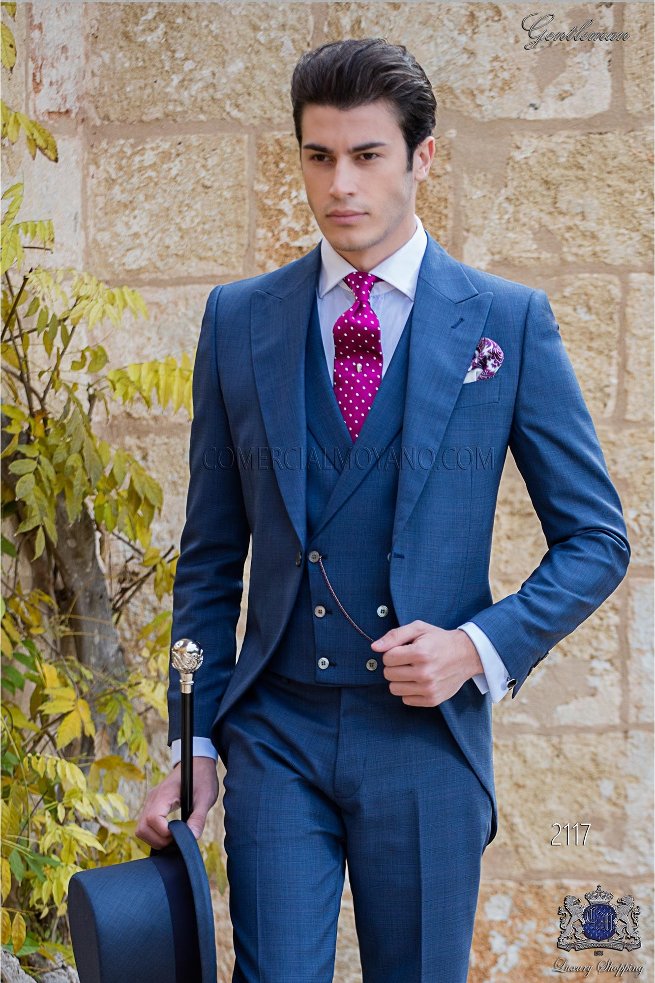 Italian royal blue wool mix Prince of Wales wedding morning suit.