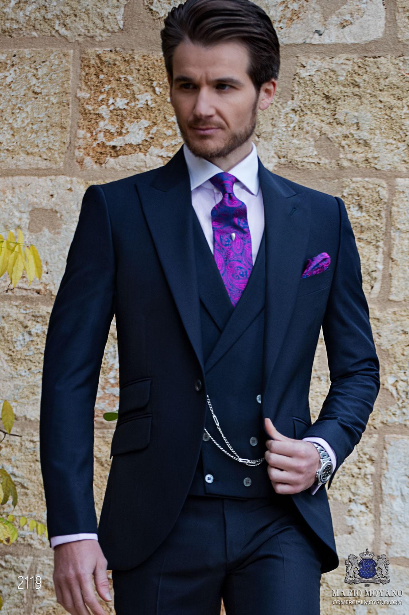 Bespoke navy blue mohair wool mix alpaca suit
