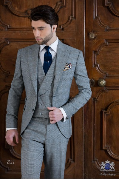 Bespoke Prince of Wales grey and blue suit