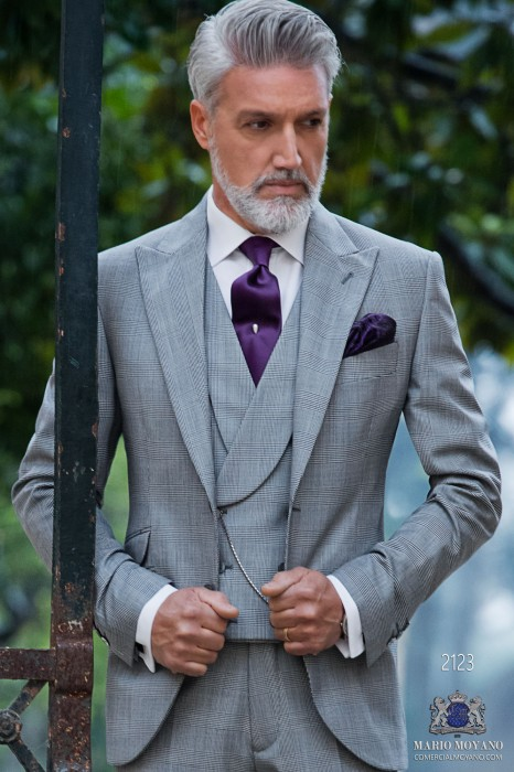 Italian Bespoke Prince of Wales grey morning suit