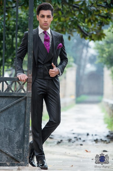 Italian black fashion groom suit. Peak lapels and 1 button. Pure wool fabric.