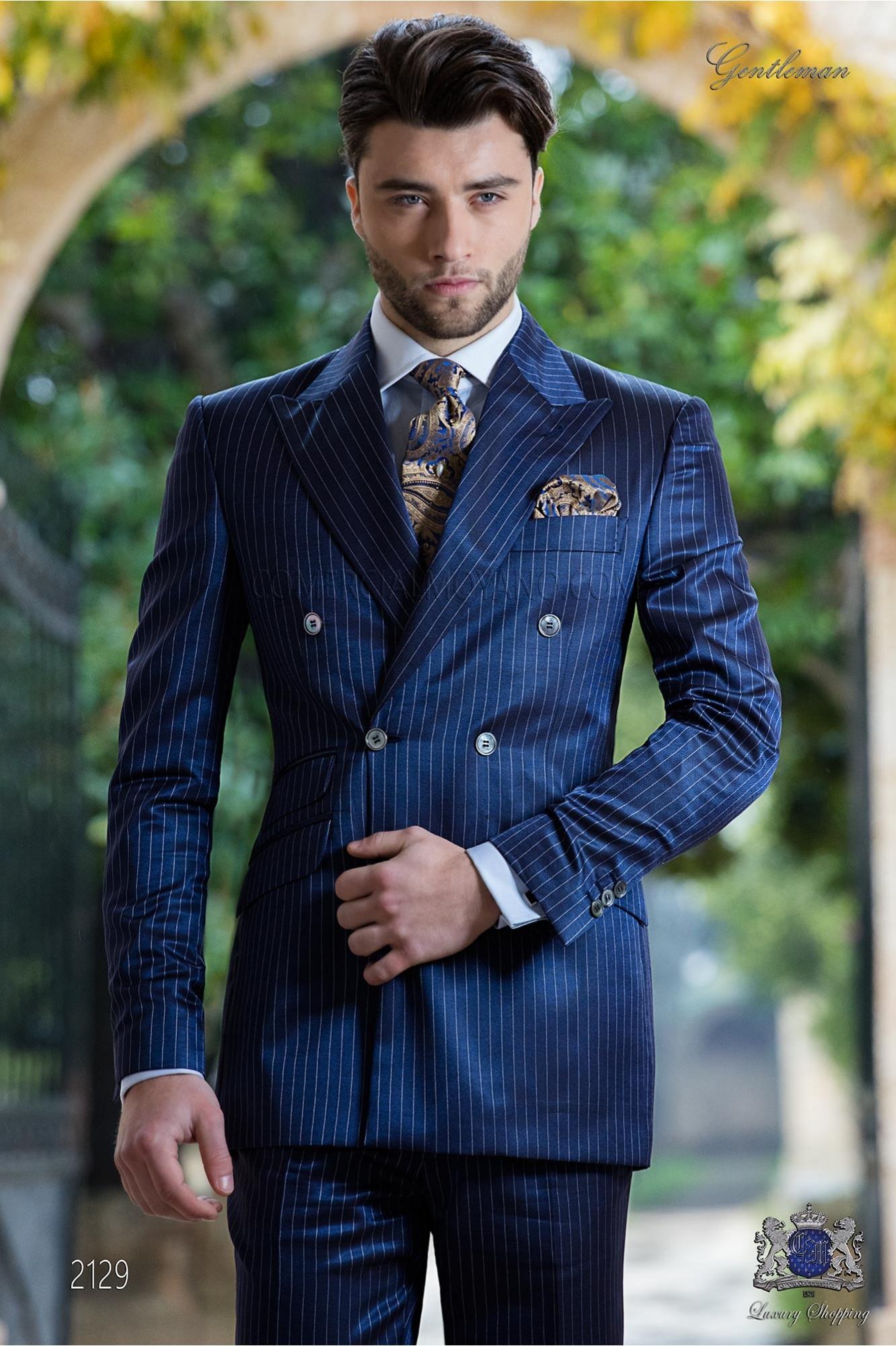 bespoke suit double breasted blue pinstripe ottavio nuccio. Black Bedroom Furniture Sets. Home Design Ideas