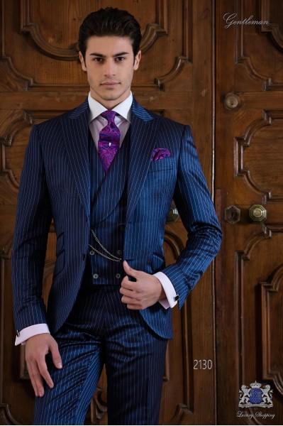 Costume homme bleu royal à rayures