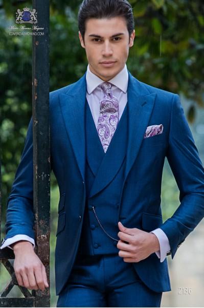 Costume homme bleu royal laine mélangé mohair alpaga