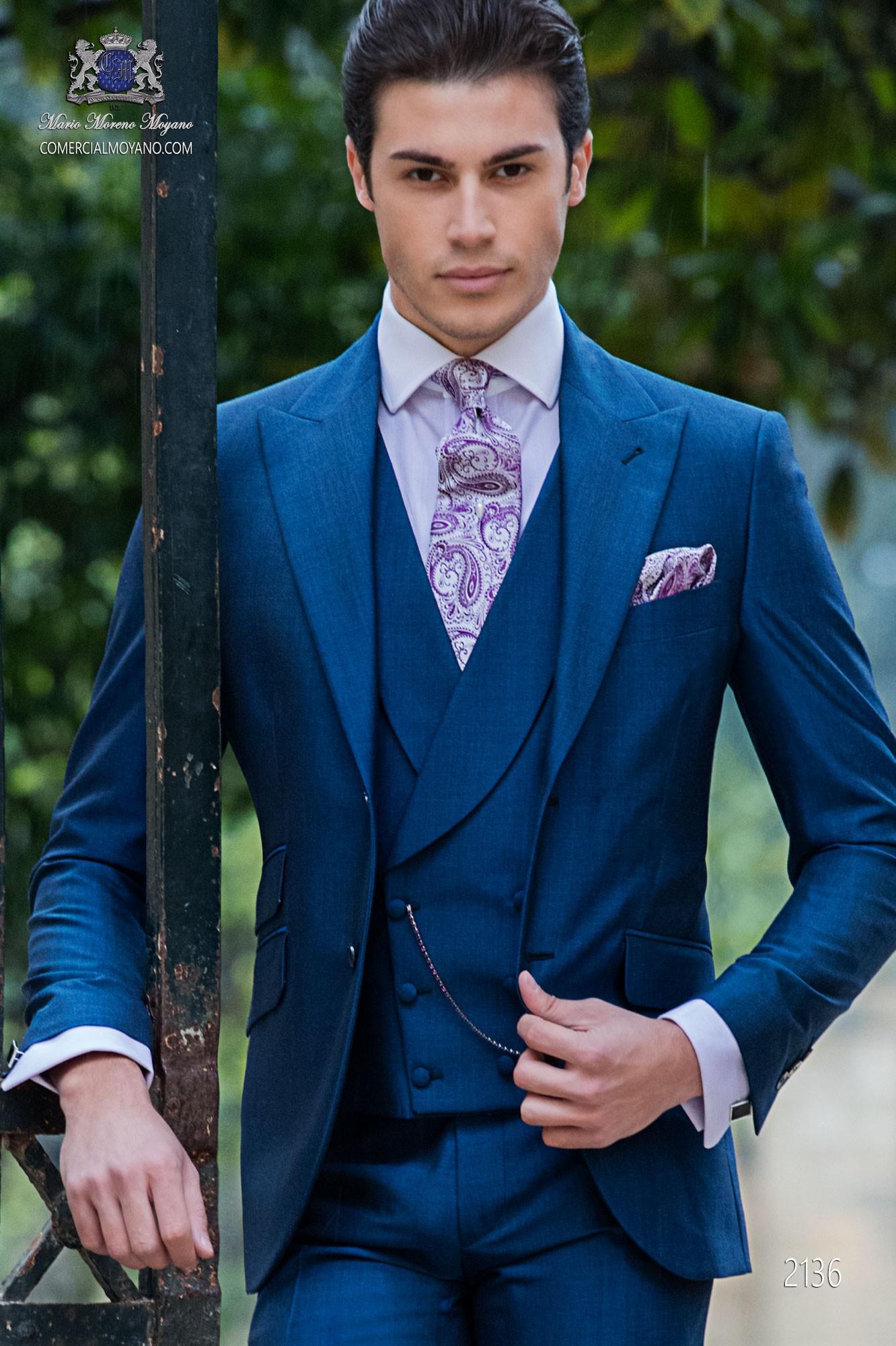 preiswert kaufen neu kommen an klare Textur Royal blaue Anzug aus Mohair Wollmischung Alpaka