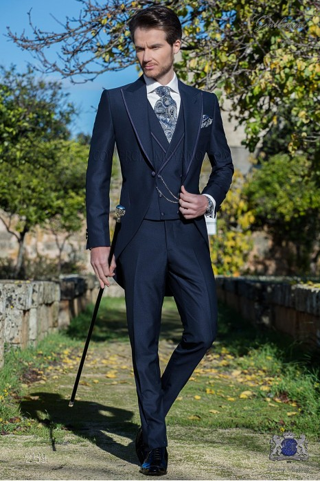 Navy navy tailor made to measure fil a fil mixed wool