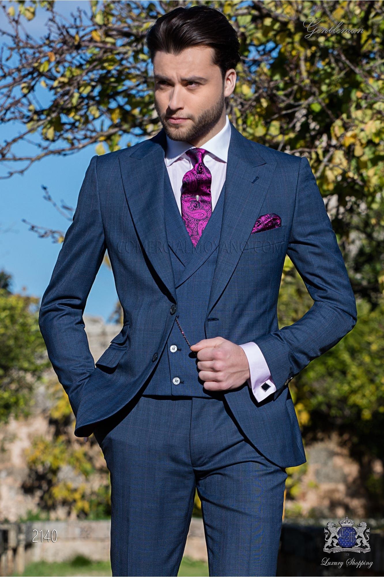 Traje italiano Príncipe de Gales azul