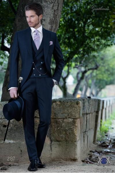 Bespoke blue morning suit mohair wool mix alpaca