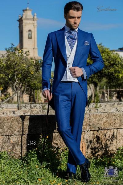 Chaqué de novio azul royal pata de gallo