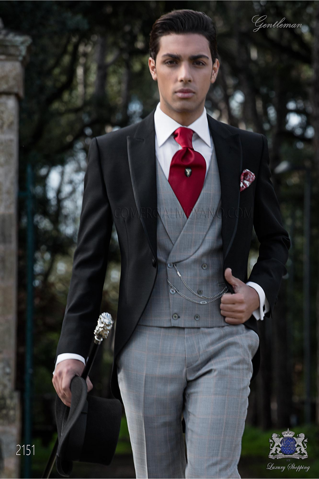 Black morning suit with Prince of Wales trousers