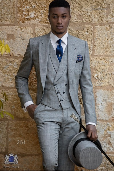 Bespoke Prince of Wales morning suit grey and red
