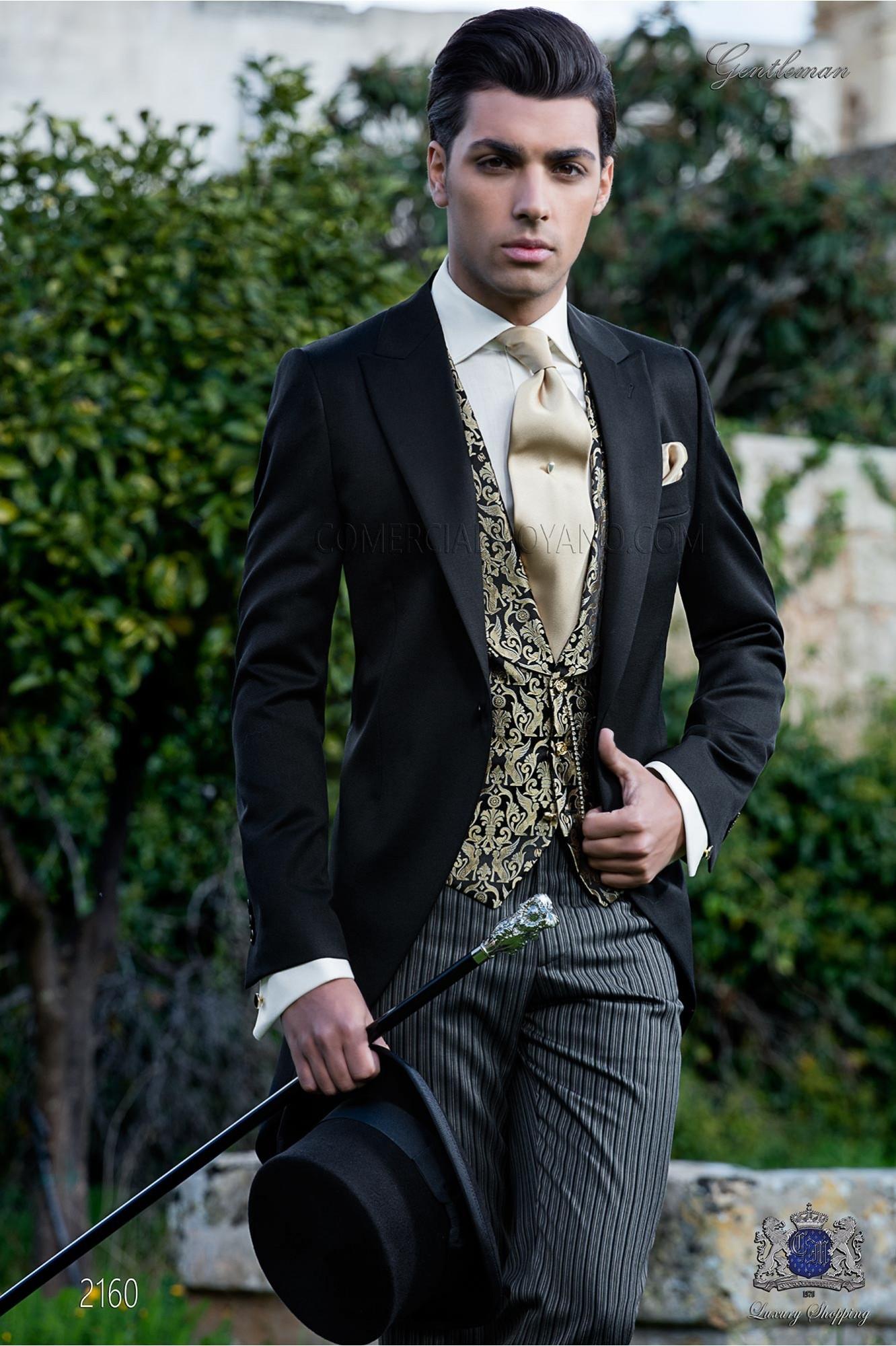 Italian bespoke black morning suit
