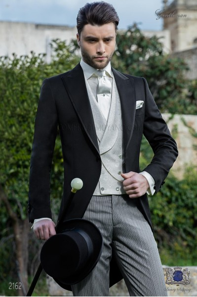 Italian bespoke morning suit black pure wool