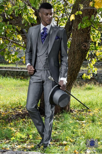 Bespoke grey suit mohair wool mix alpaca