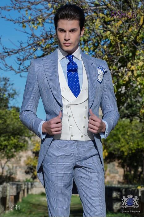 Chaqué de novio príncipe de gales azul royal
