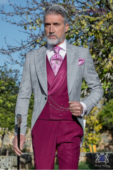 Bespoke morning suit Prince of Wales light grey and red