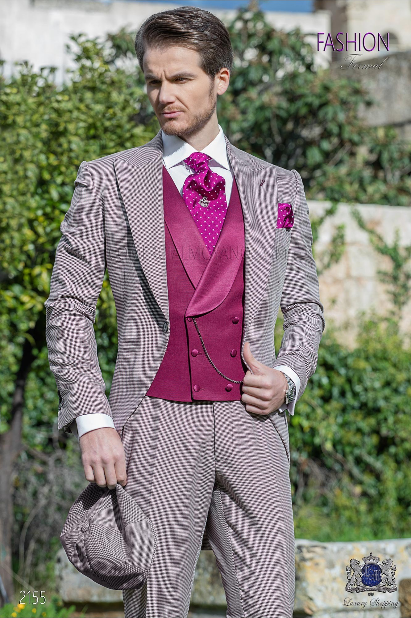 Bespoke Houndstooth morning suit purple