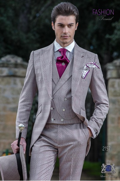 Italian short-tailed wedding suit Prince of Wales Burgundy