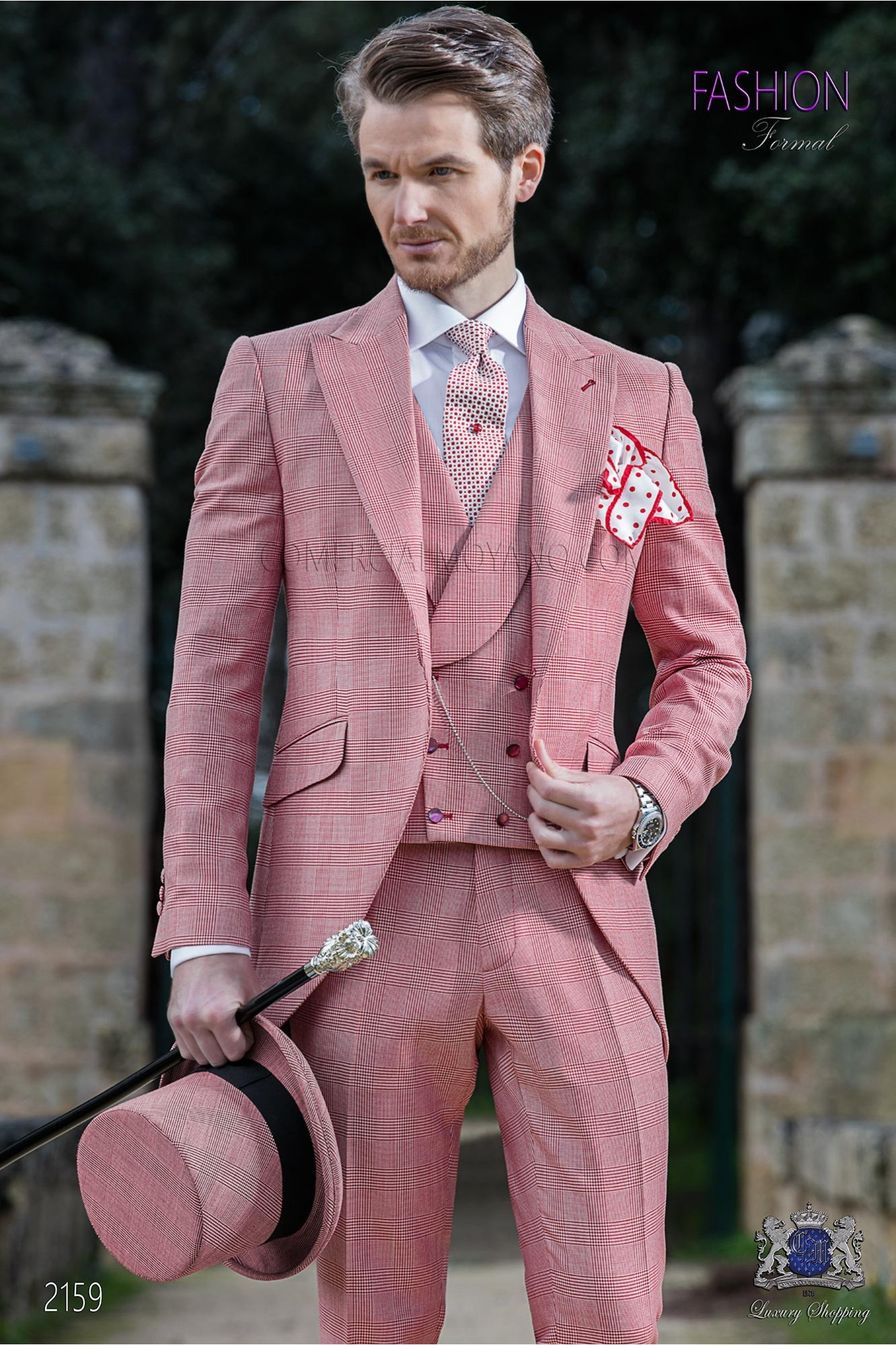 Italian short-tailed wedding suit Red Prince of Wales model 2159 Ottavio Nuccio Gala