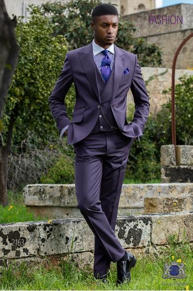 Italian bespoke purple cool wool mix suit