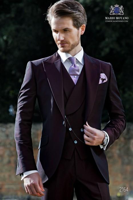 Italian bespoke burgundy groom suit