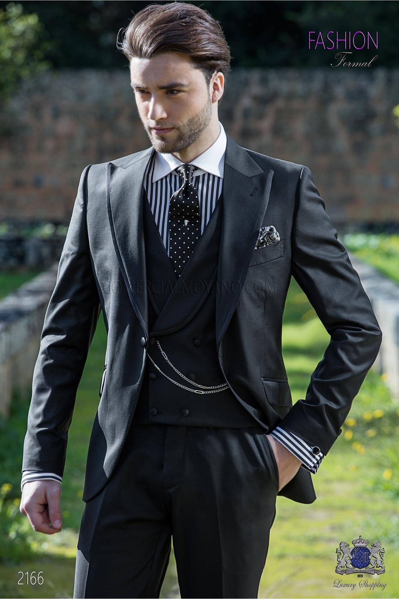 Traje italiano moderno negro fresco lana