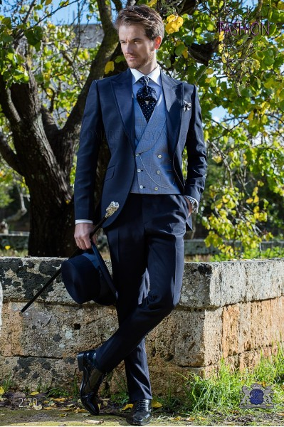 Blue Italian wedding suit Slim stylish cut. Peak lapel with contrast fabric piping. Made from wool and acetate fabric.