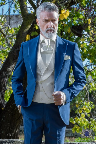 Italian bespoke electric blue wedding suit