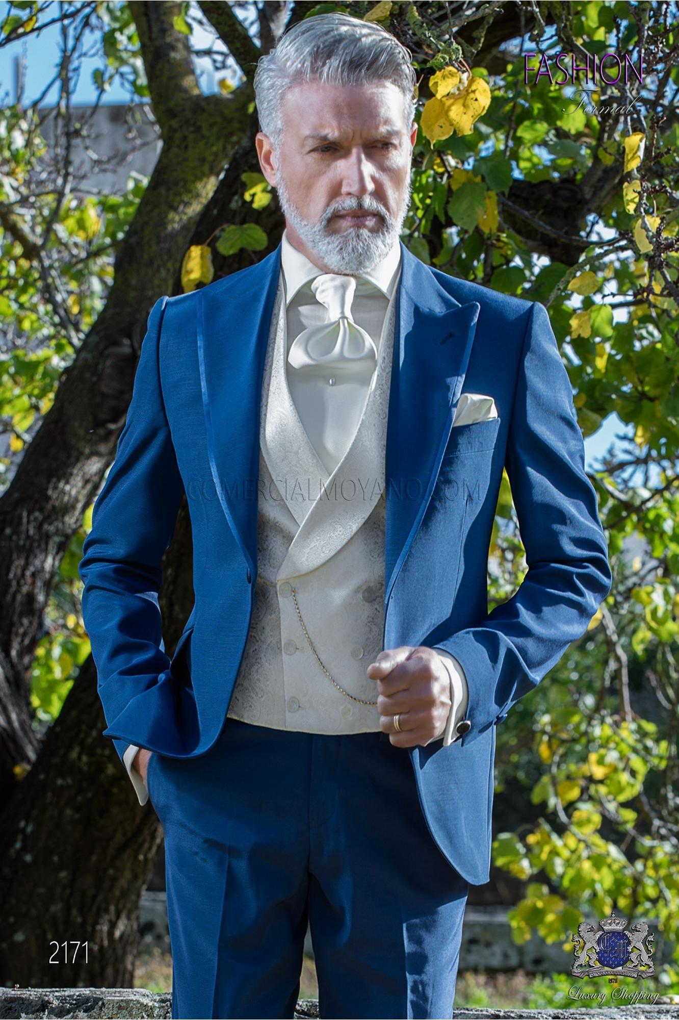 Mariage De Contrasté Costume Bleu Satin Électrique Avec En TlFcK1J