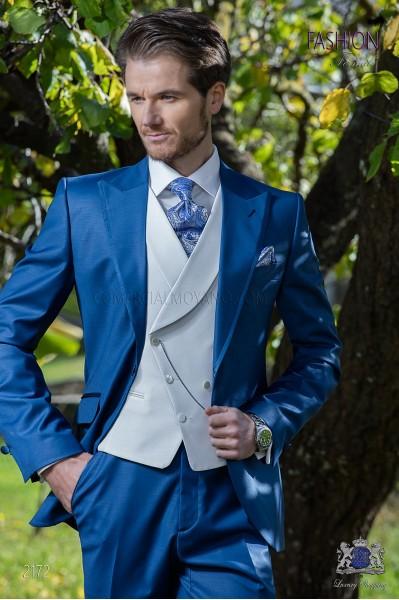 Traje de novio azul royal tejido fresco lana