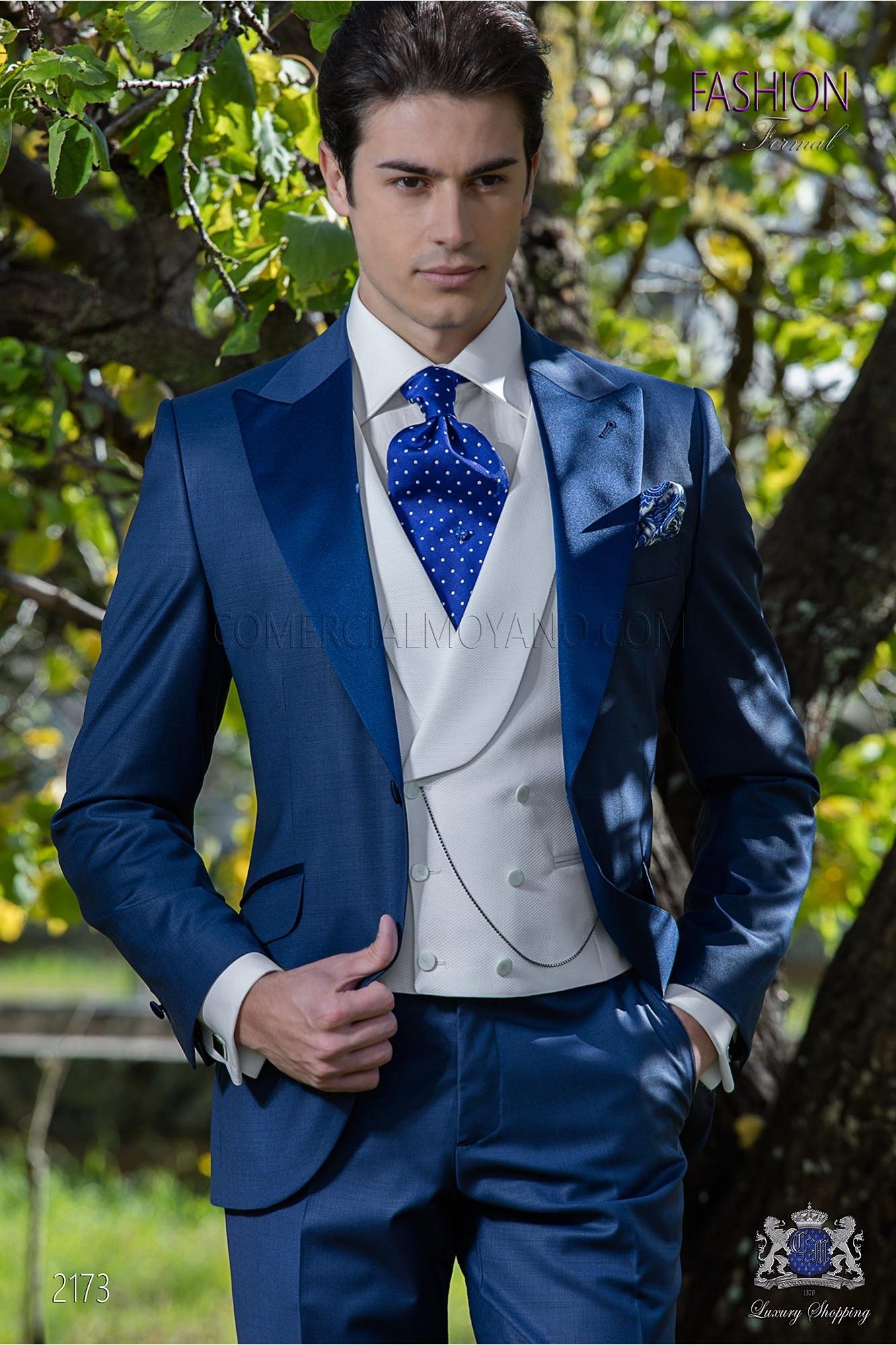 Italian bespoke suit royal blue cool wool mix
