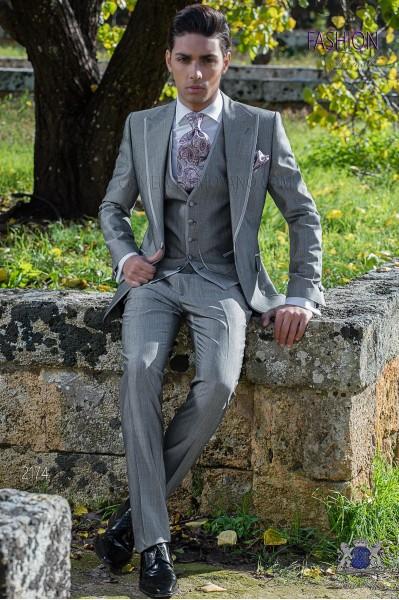 Costume homme gris clair laine mélangé mohair alpaga